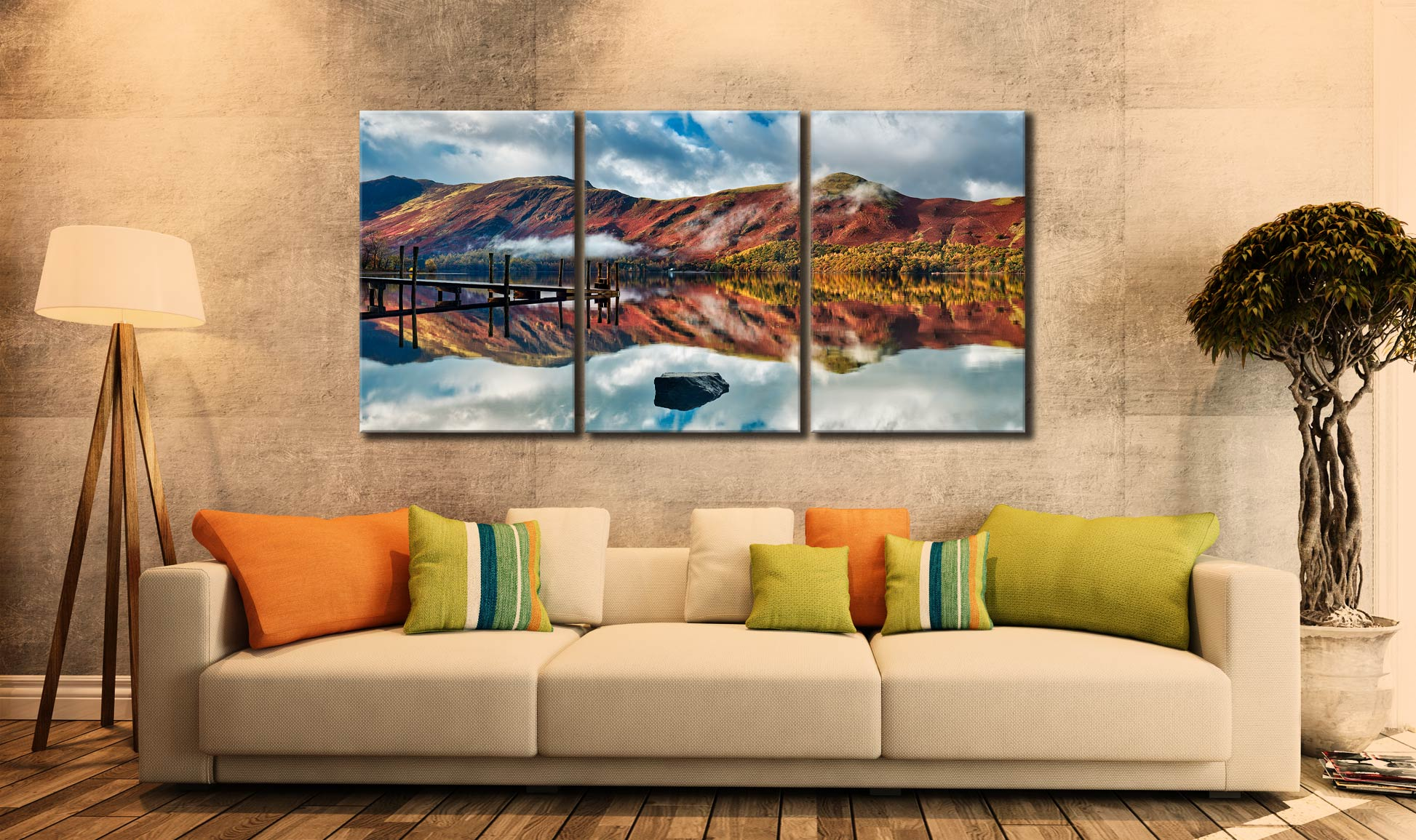Late Autumn at Ashness Jetty - 3 Panel Canvas on Wall