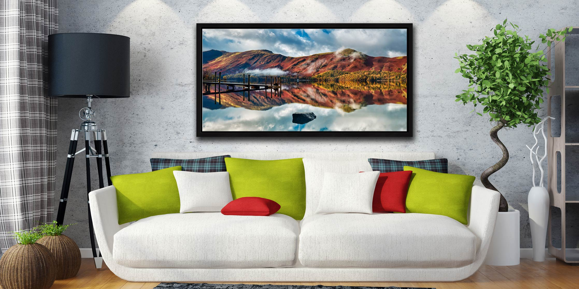 Late Autumn at Ashness Jetty - Black oak floater frame with acrylic glazing on Wall