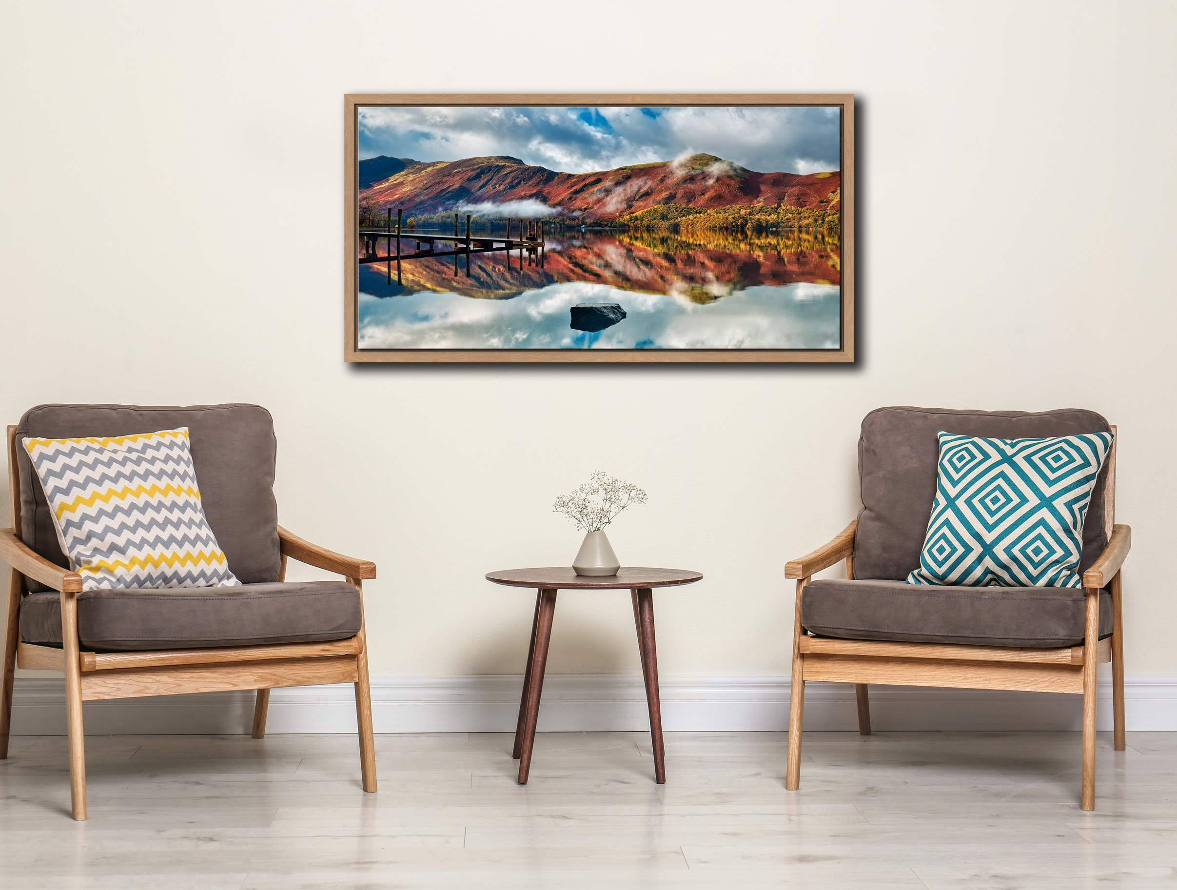 Late Autumn at Ashness Jetty - Oak floater frame with acrylic glazing on Wall