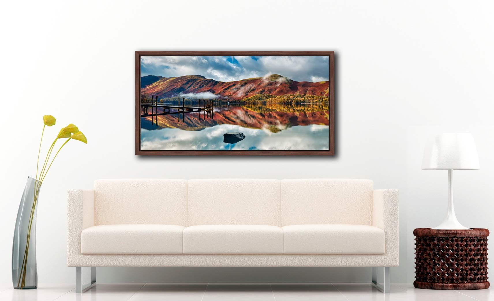Late Autumn at Ashness Jetty - Walnut floater frame with acrylic glazing on Wall