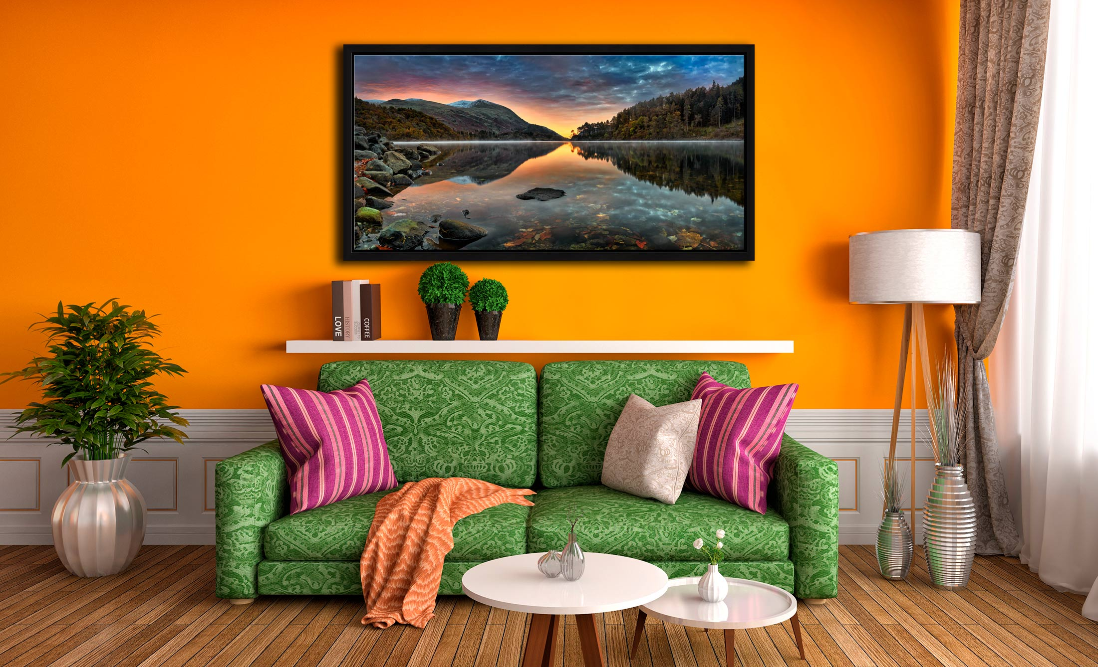 Thirlmere Autumn Dawn - Black oak floater frame with acrylic glazing on Wall