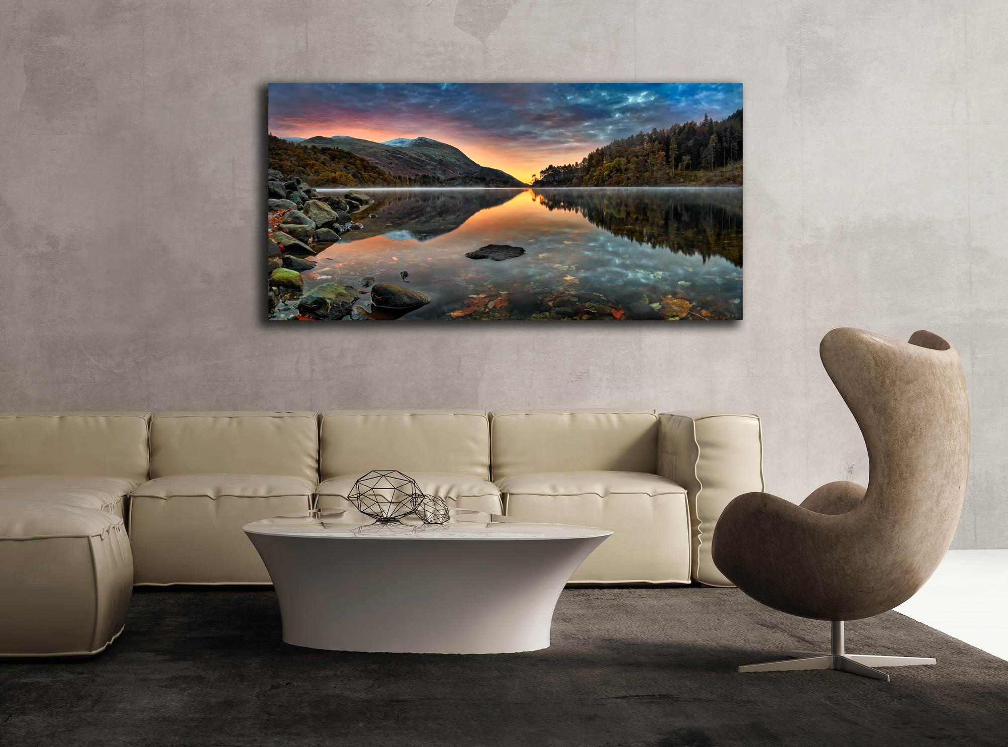 Thirlmere Autumn Dawn - Print Aluminium Backing With Acrylic Glazing on Wall