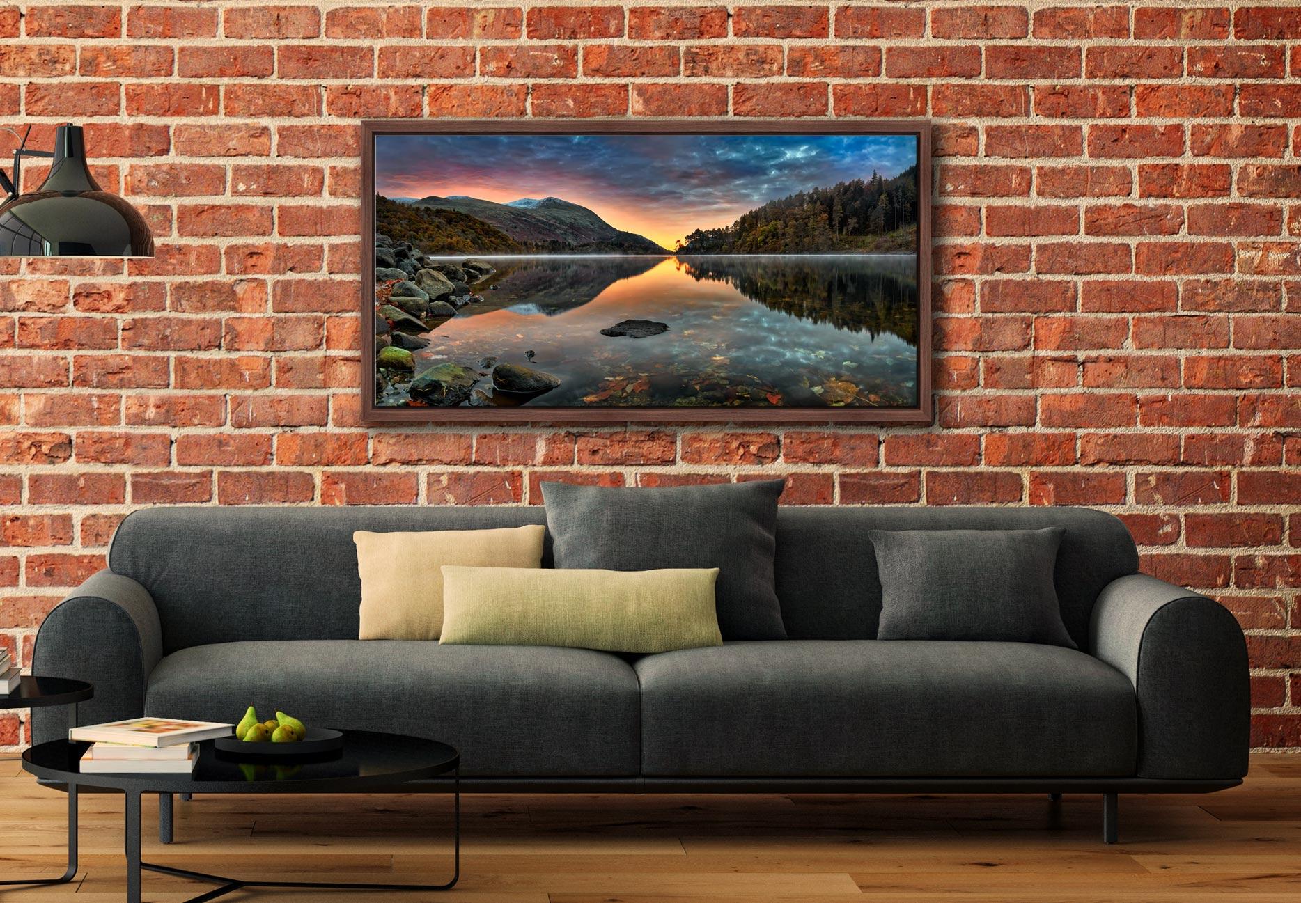 Thirlmere Autumn Dawn - Walnut floater frame with acrylic glazing on Wall