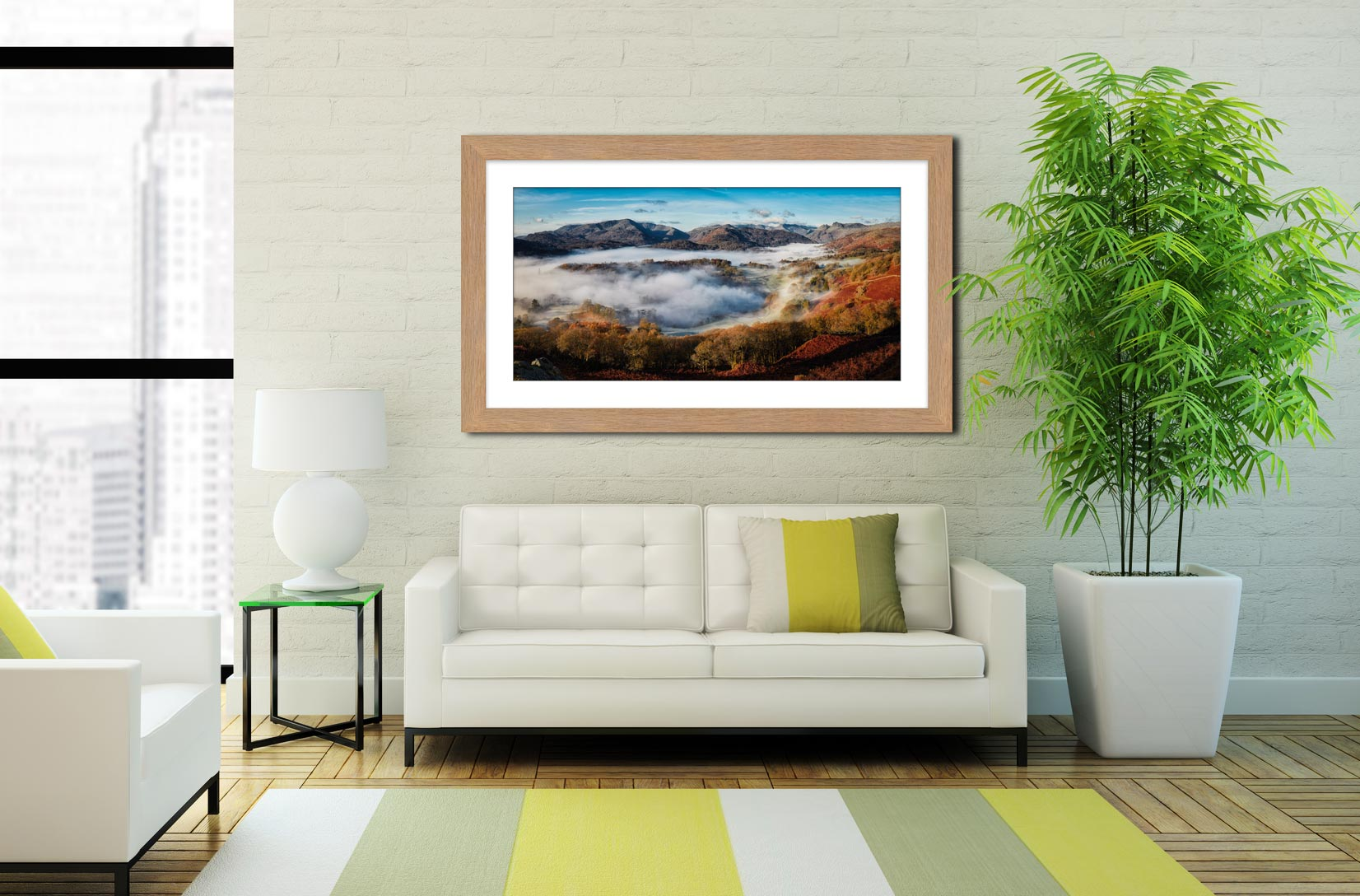 Great Langdale Misty Morning - Framed Print with Mount on Wall