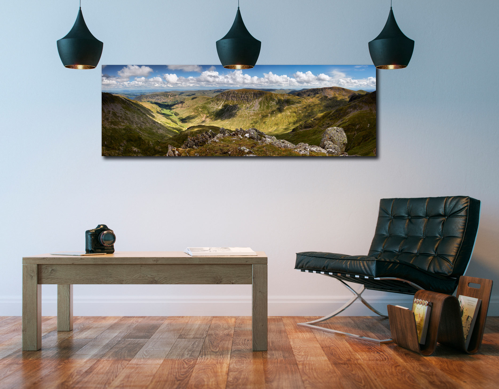 View from Helvellyn over the Grisedale Valley to St Sunday Crag - Print Aluminium Backing With Acrylic Glazing on Wall
