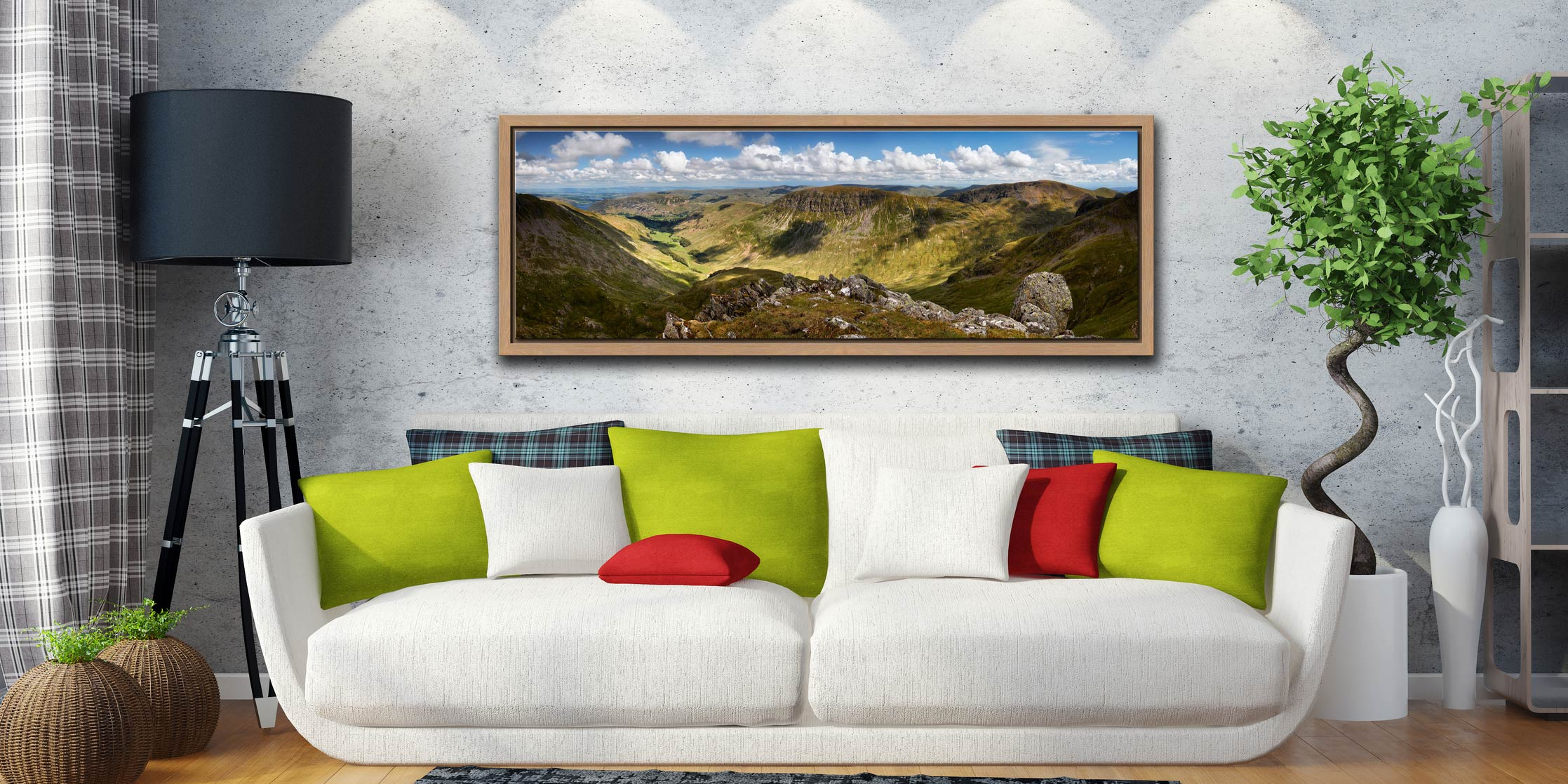 View from Helvellyn over the Grisedale Valley to St Sunday Crag - Oak floater frame with acrylic glazing on Wall