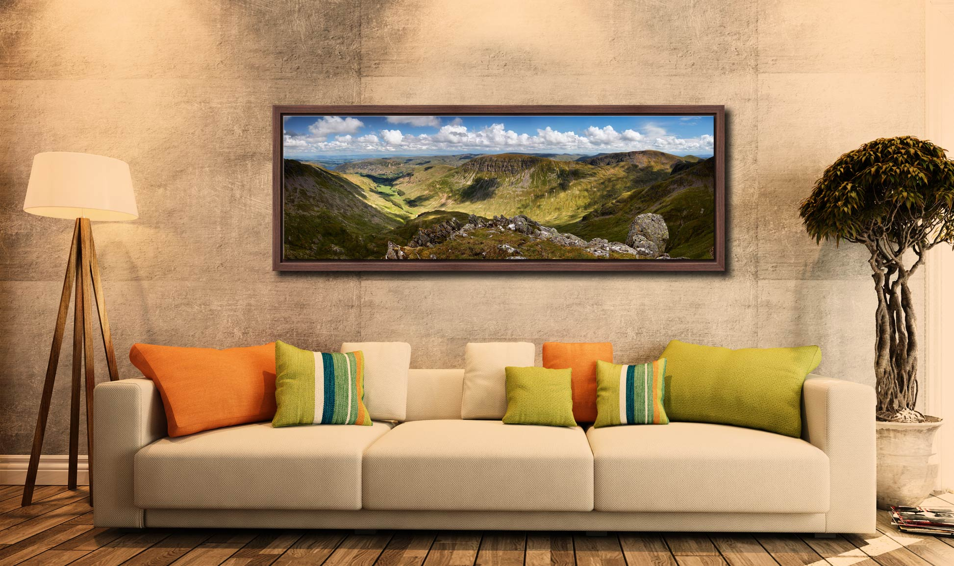View from Helvellyn over the Grisedale Valley to St Sunday Crag - Walnut floater frame with acrylic glazing on Wall