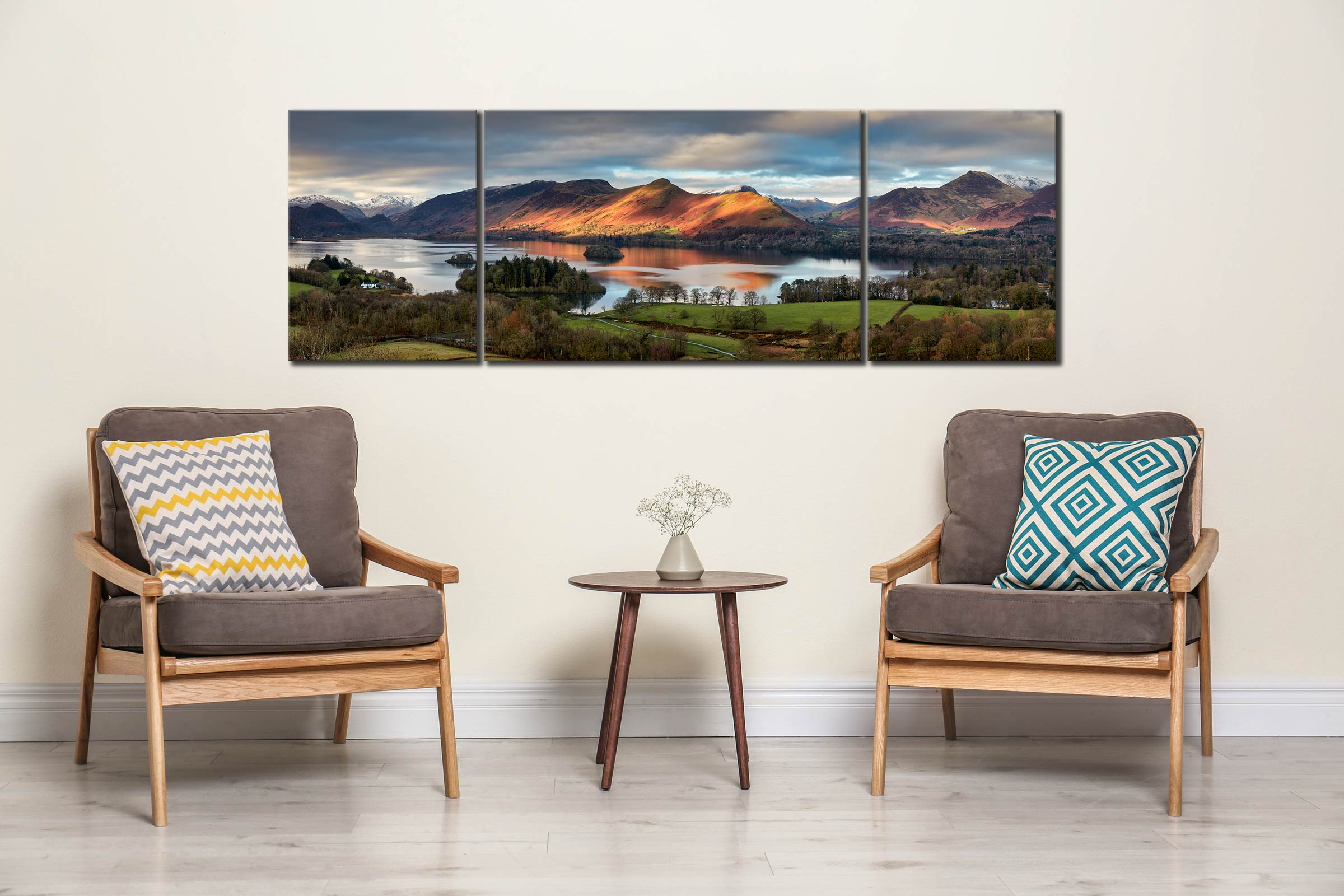 Cat Bells Morning Light - 3 Panel Wide Mid Canvas on Wall