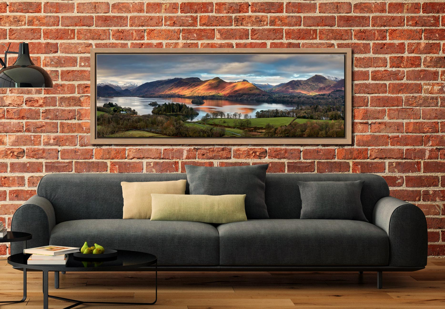 Early morning sunlight on Cat Bells across Derwent Water - Oak floater frame with acrylic glazing on Wall