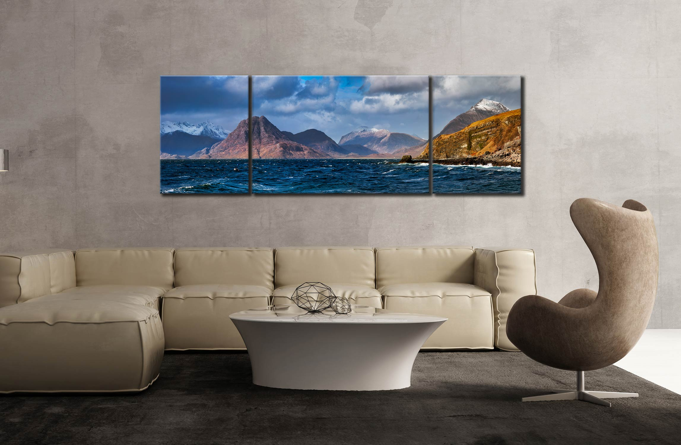 Cuillins From Elgol - 3 Panel Wide Mid Canvas on Wall