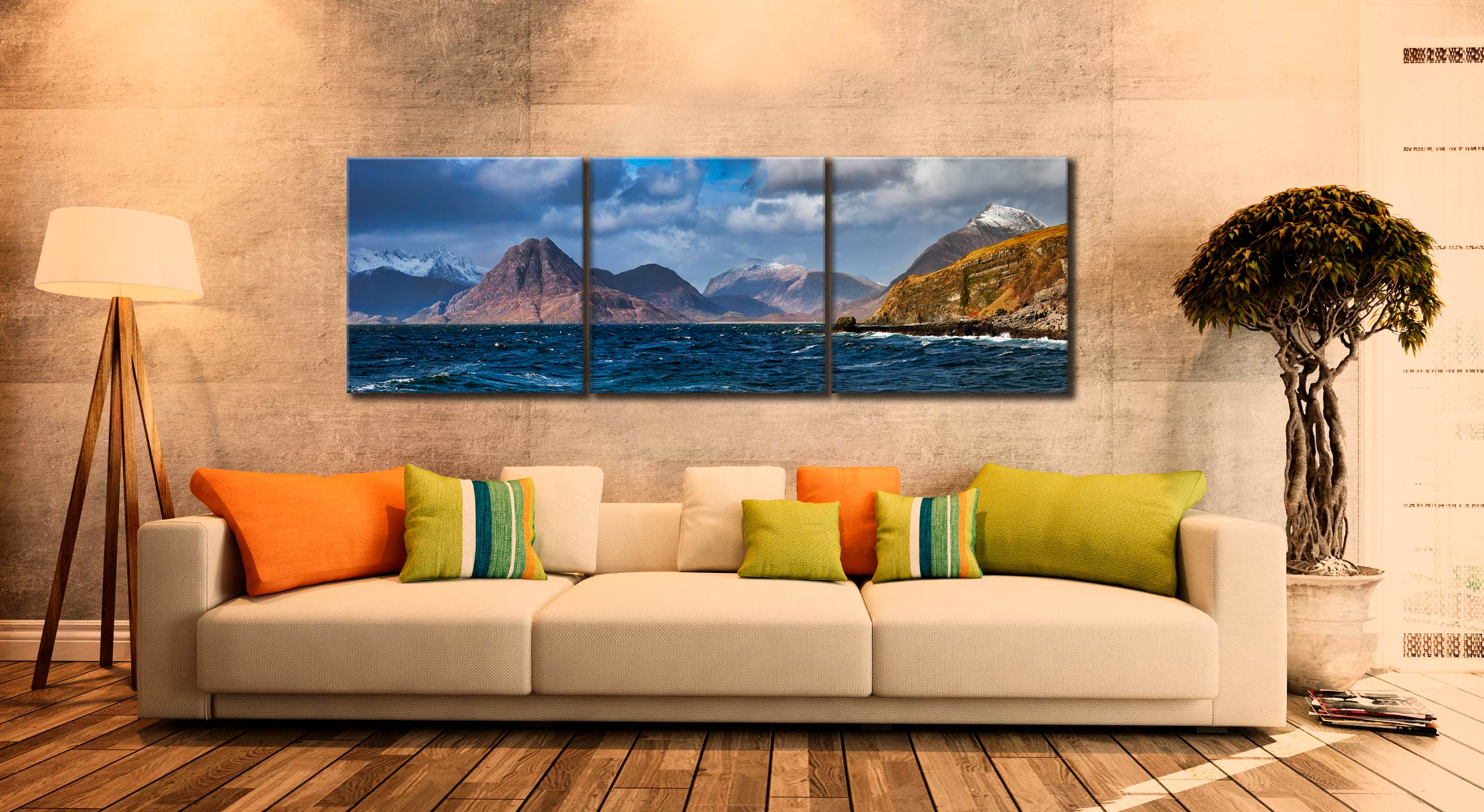 Cuillins From Elgol - 3 Panel Canvas on Wall