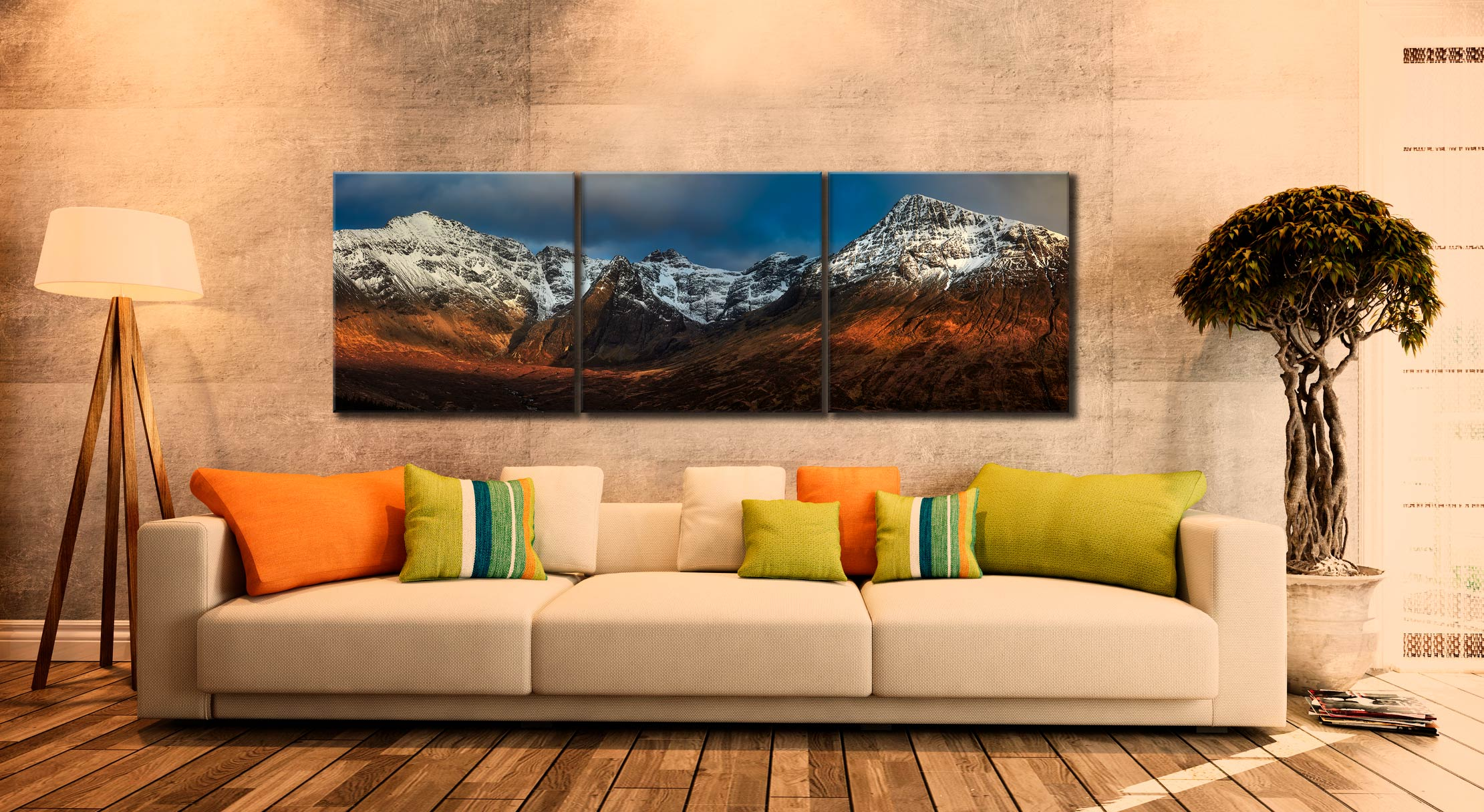 Evening Light on Cuillins - 3 Panel Canvas on Wall