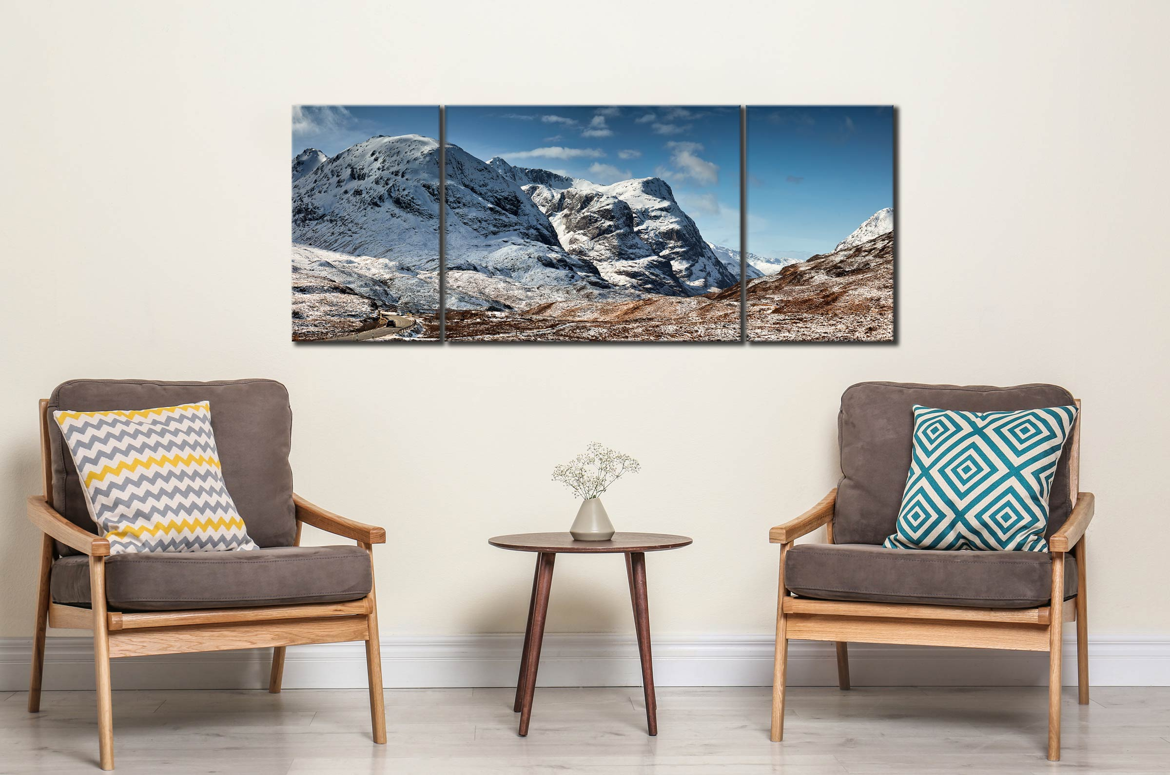 Glencoe in the Snow - 3 Panel Wide Mid Canvas on Wall