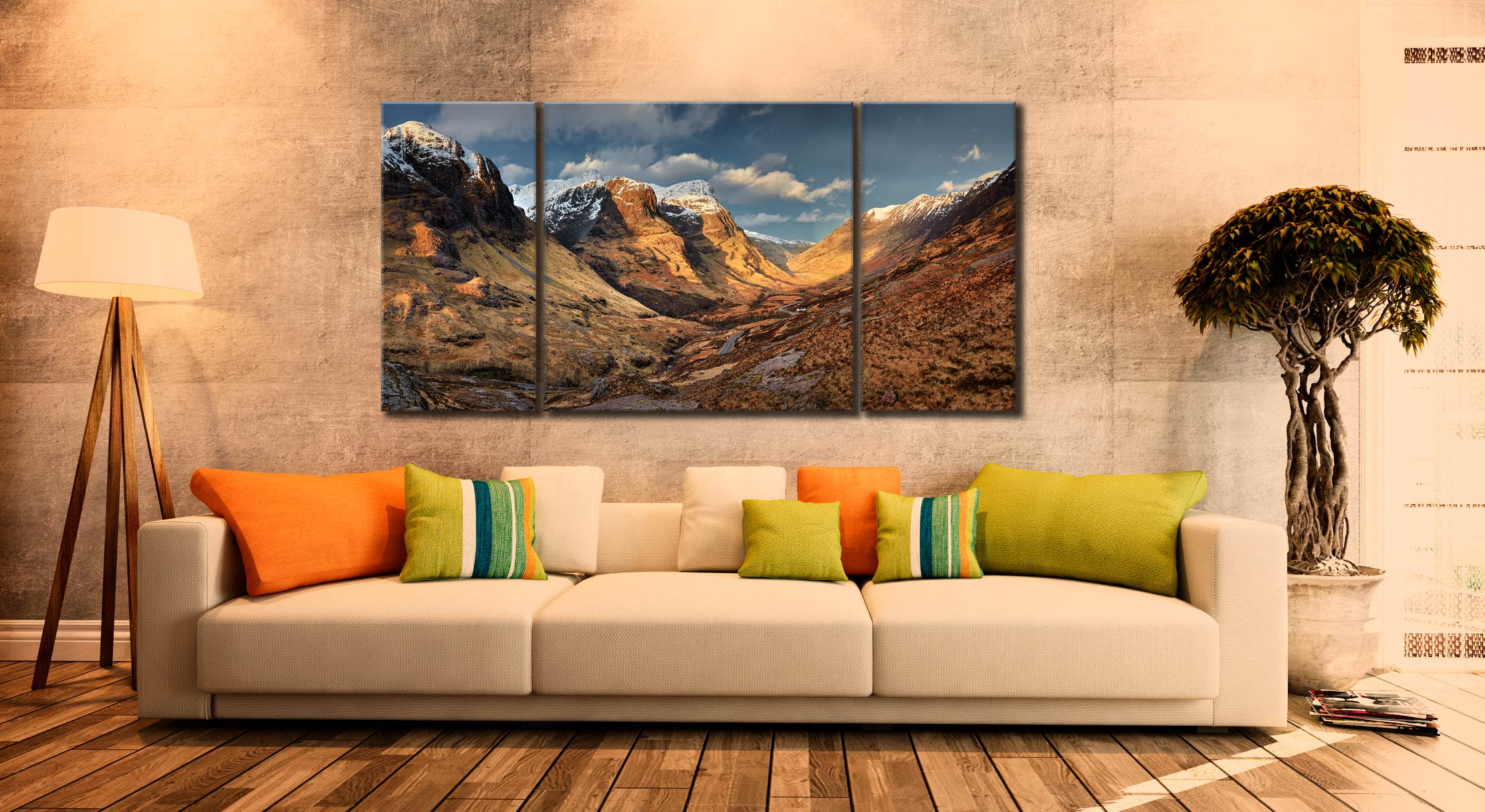 Mountains of Glencoe - 3 Panel Wide Centre Canvas on Wall