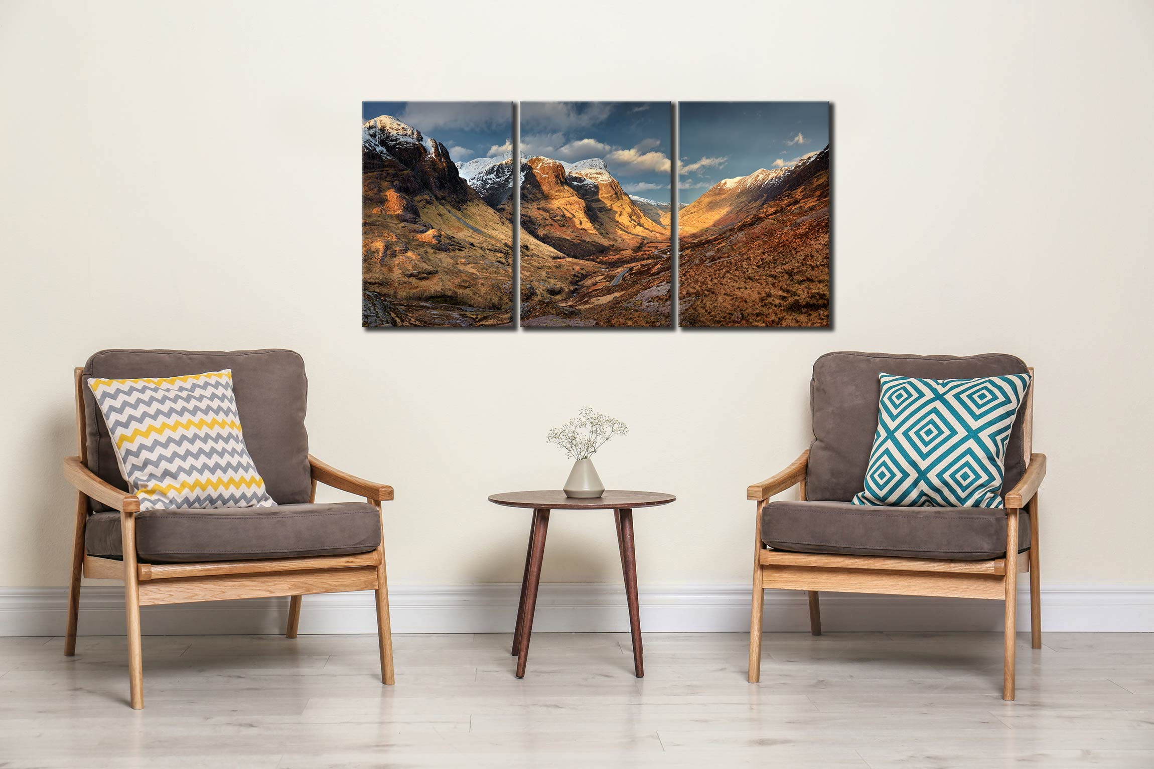 Mountains of Glencoe - 3 Panel Canvas on Wall
