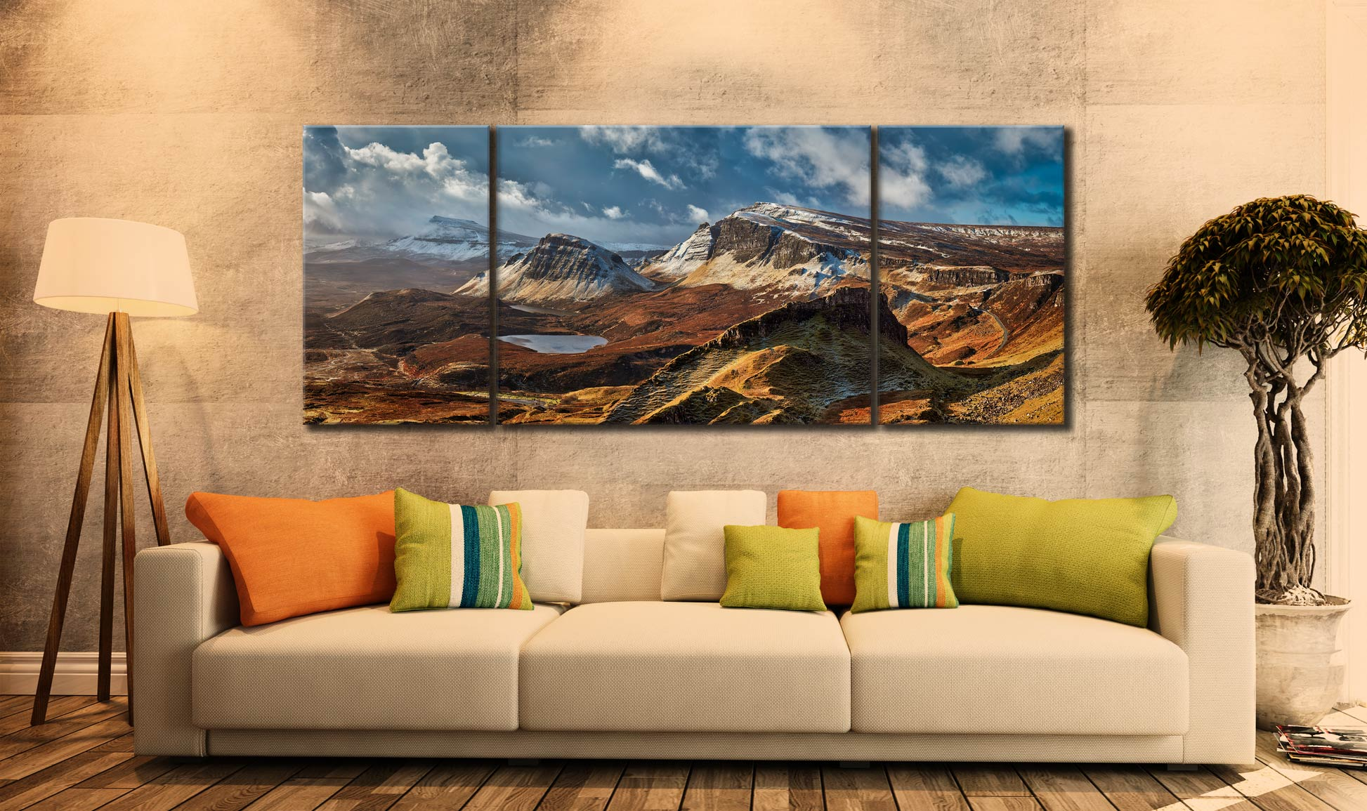 Snow on the Trotternish Mountains - 3 Panel Wide Mid Canvas on Wall