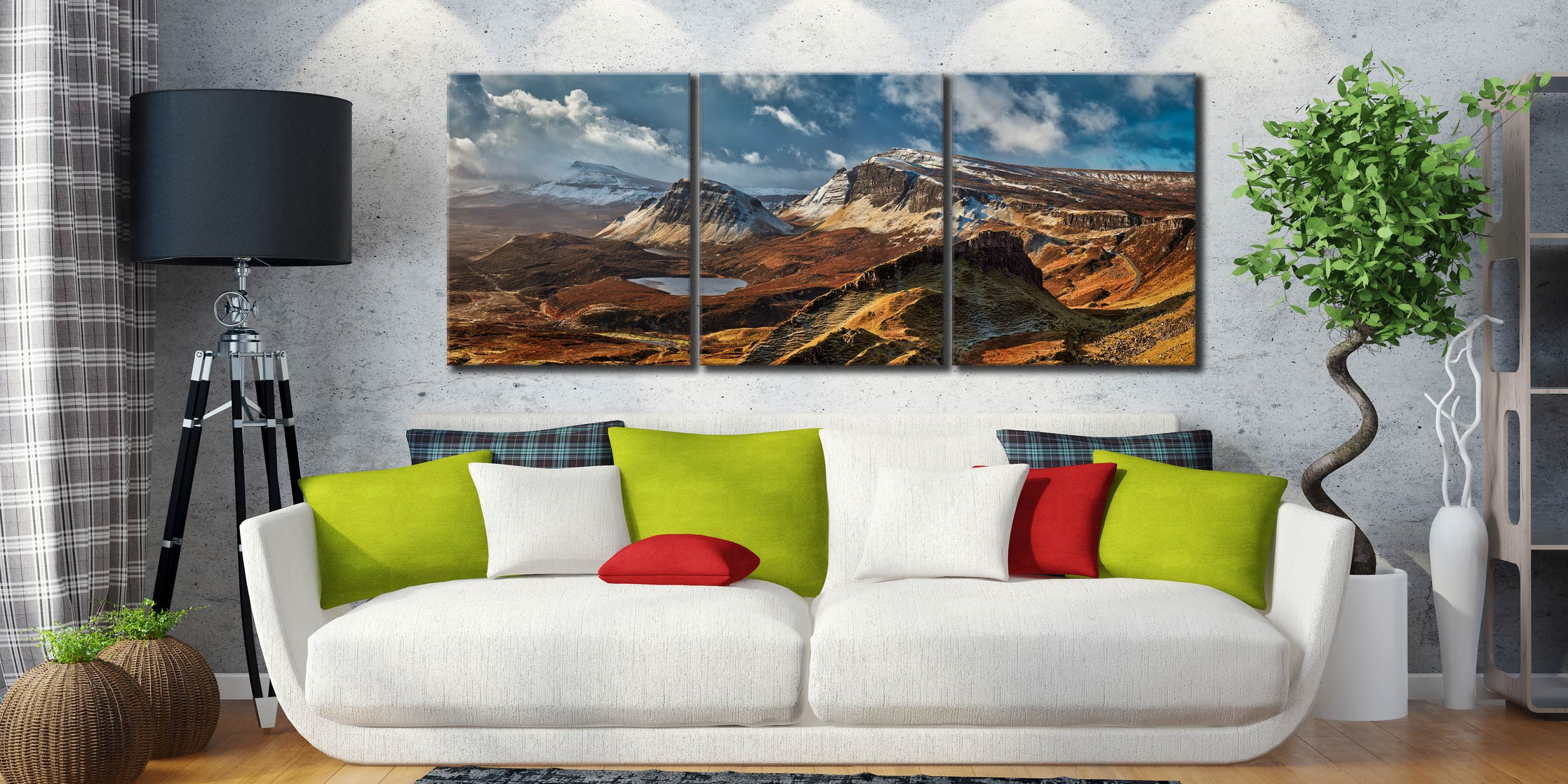 Snow on the Trotternish Mountains - 3 Panel Canvas on Wall