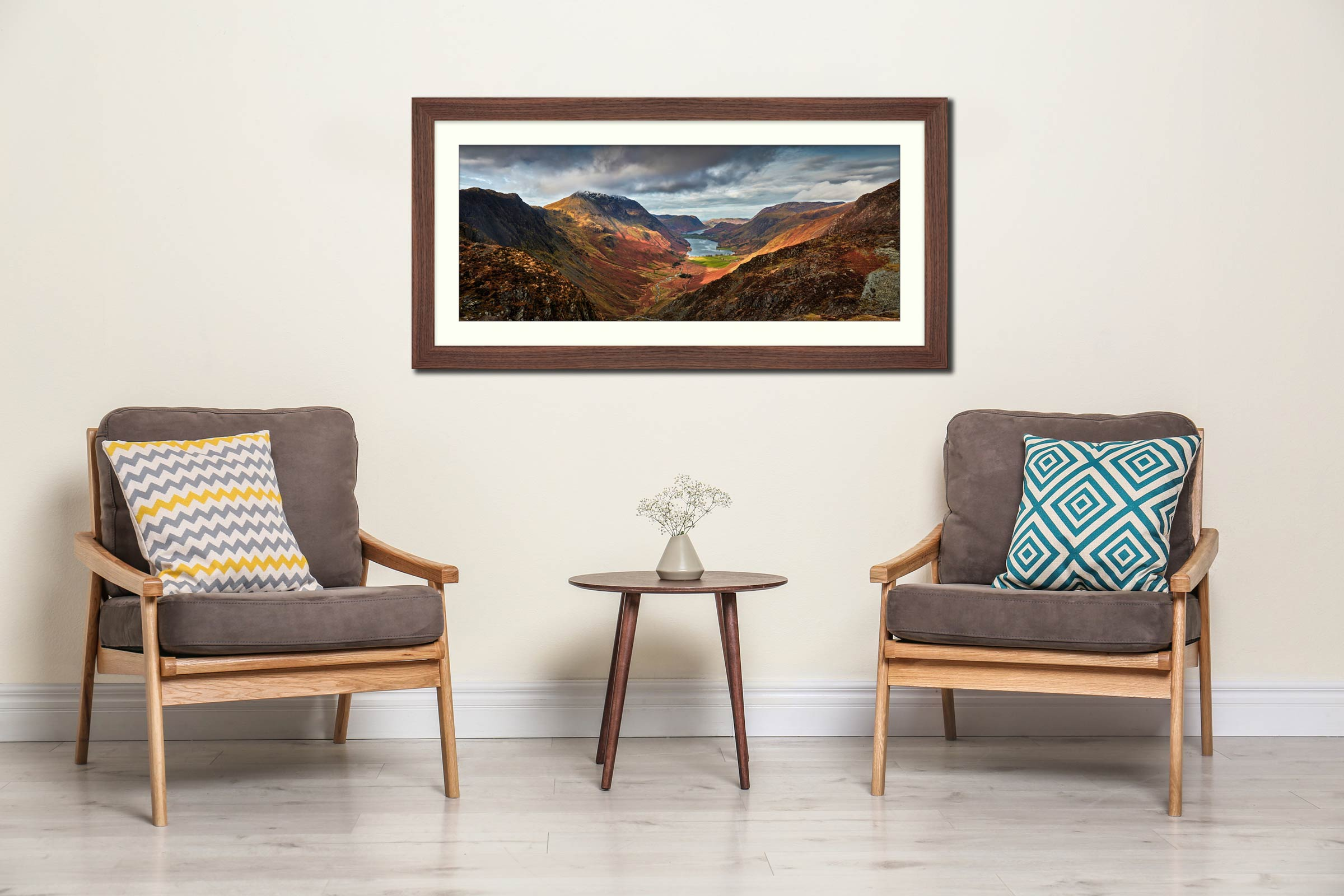 Buttermere Valley and High Crag - Framed Print with Mount on Wall