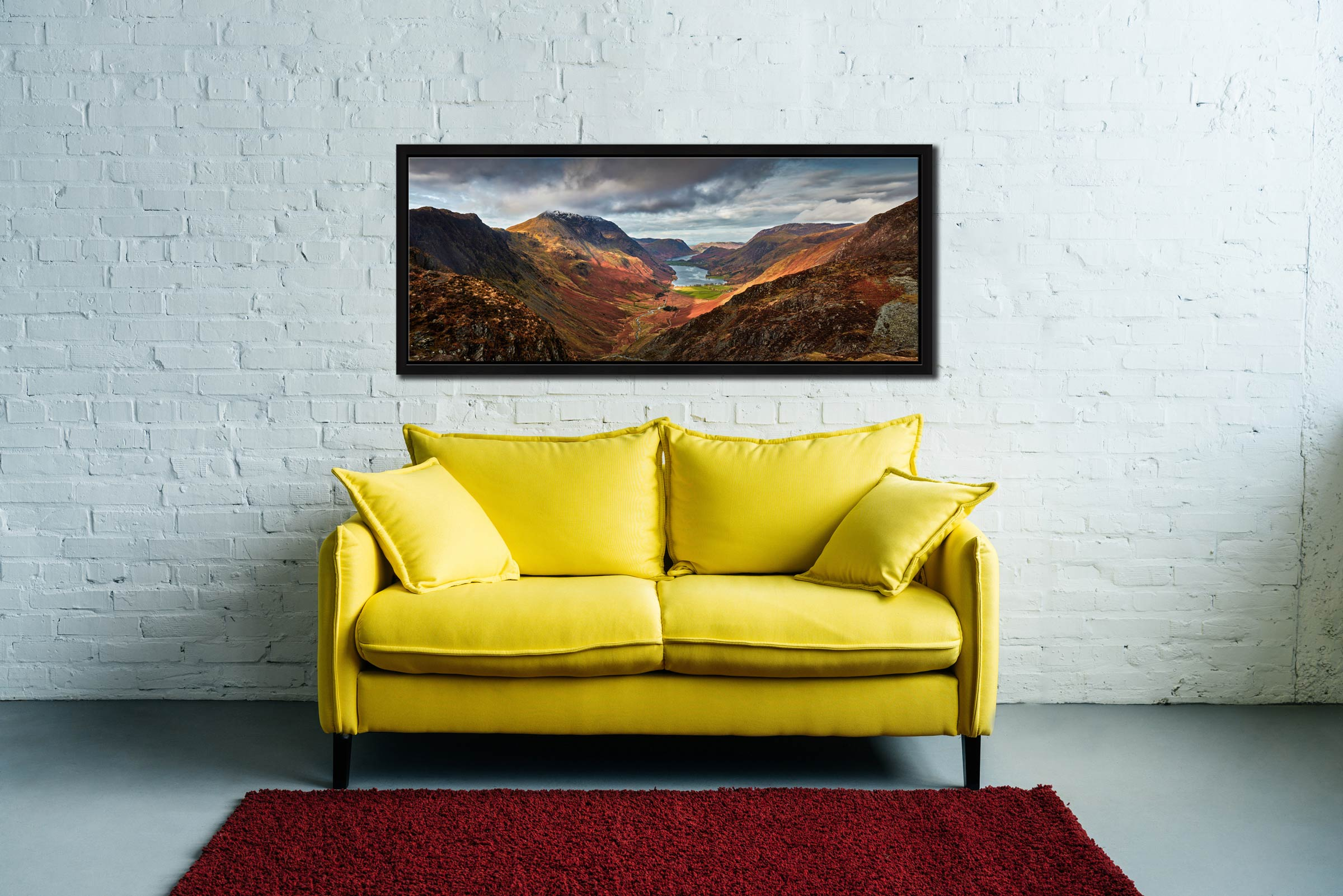 The Buttermere Valley overlooked by High Crag and High Stile - Black oak floater frame with acrylic glazing on Wall