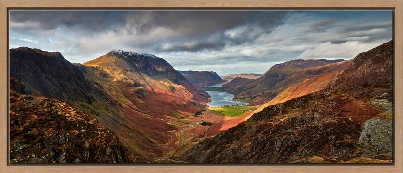 The Buttermere Valley overlooked by High Crag and High Stile - Oak floater frame with acrylic glazing