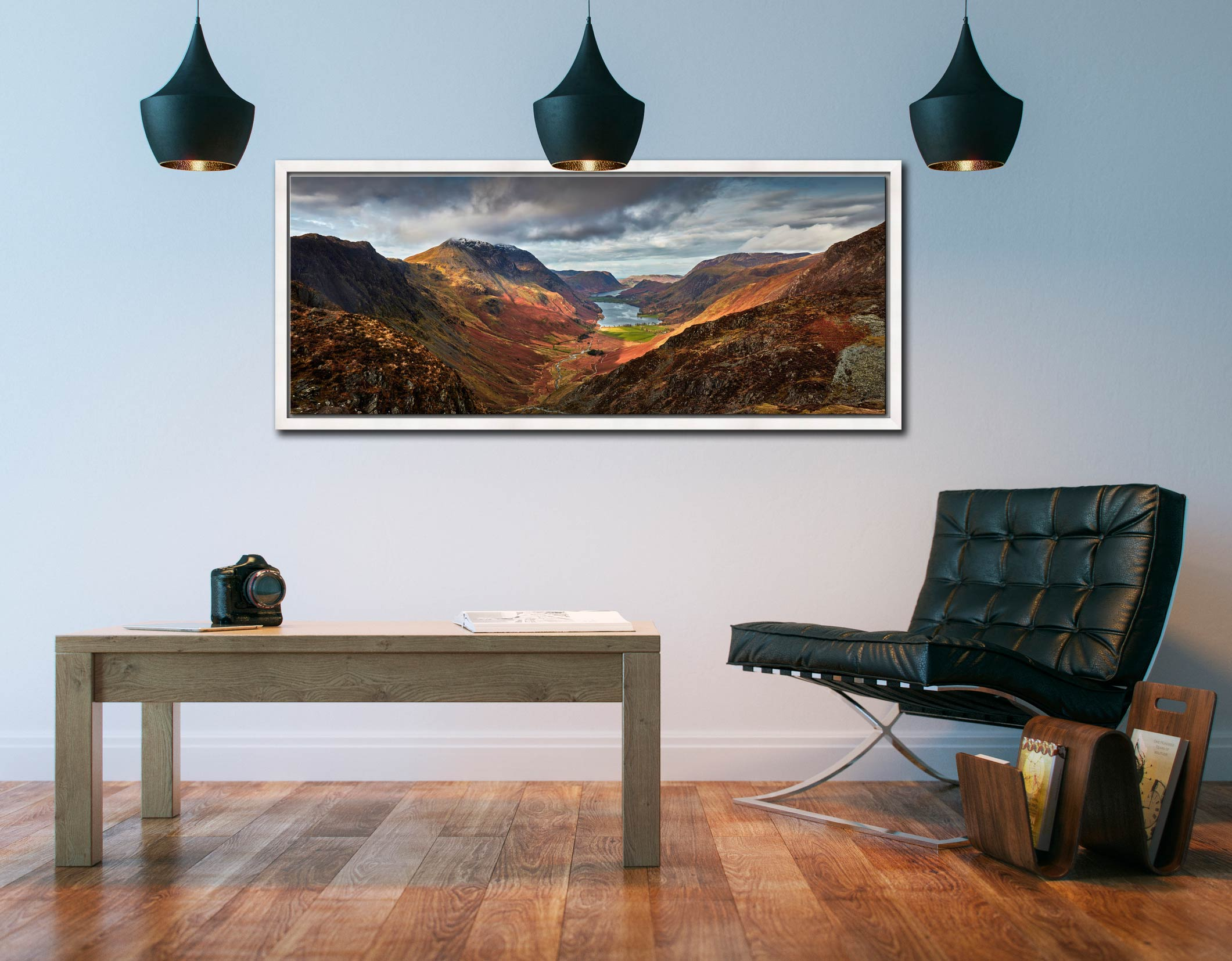 The Buttermere Valley overlooked by High Crag and High Stile - White Maple floater frame with acrylic glazing on Wall