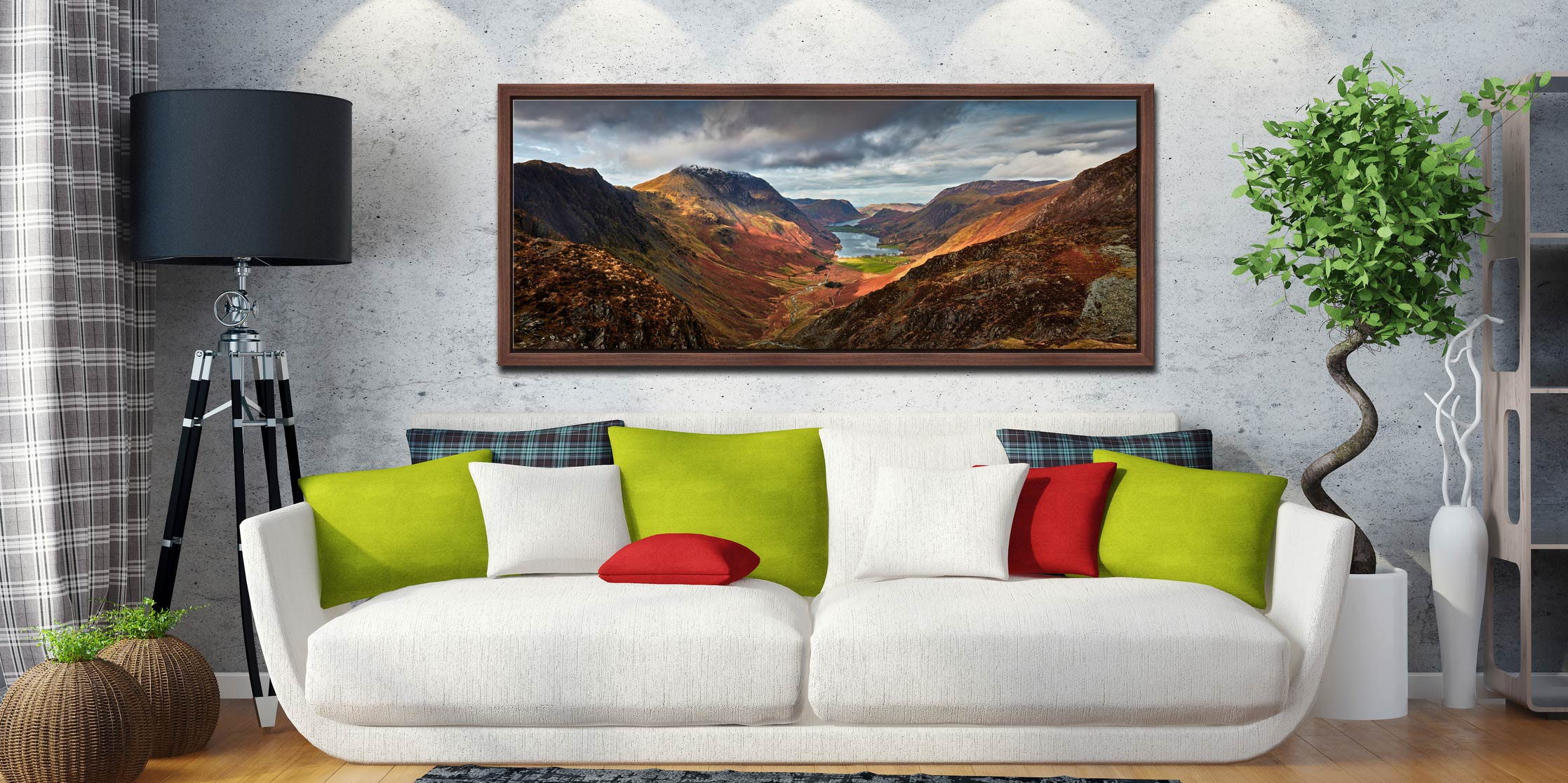 The Buttermere Valley overlooked by High Crag and High Stile - Walnut floater frame with acrylic glazing on Wall