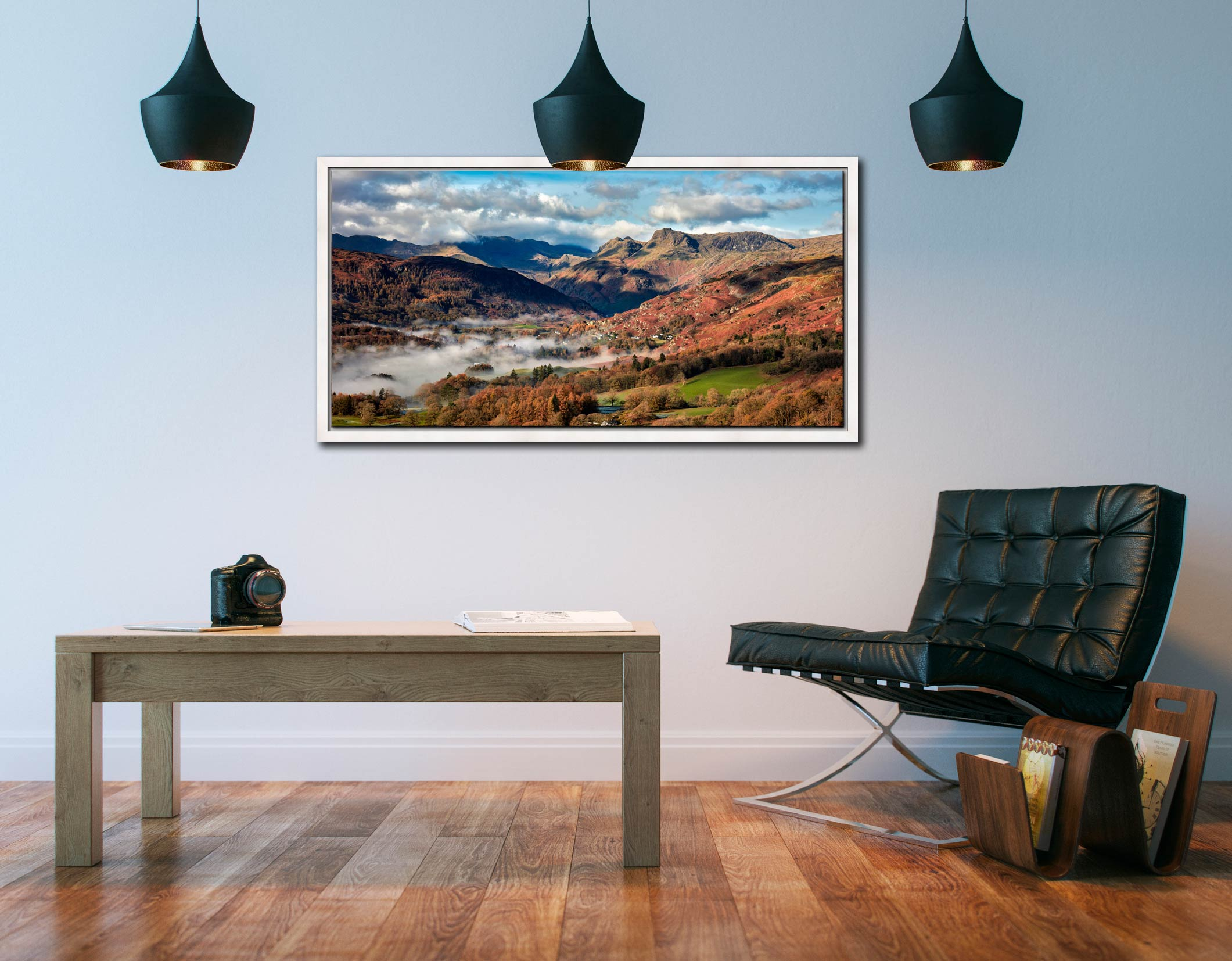 Chapel Stile Langdale - White Maple floater frame with acrylic glazing on Wall