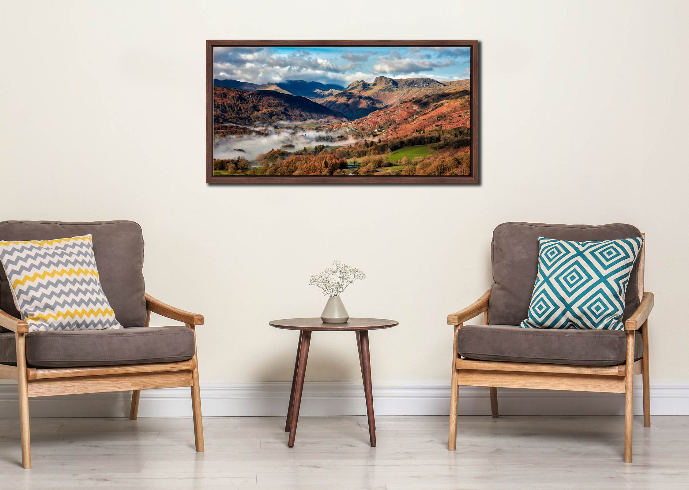 Chapel Stile Langdale - Walnut floater frame with acrylic glazing on Wall