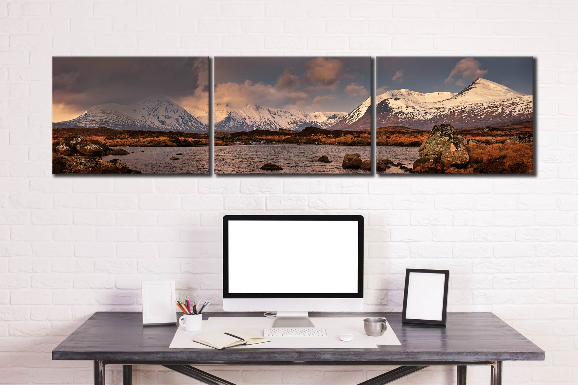 Loch Stainge From Rannock Moor - 3 Panel Canvas on Wall