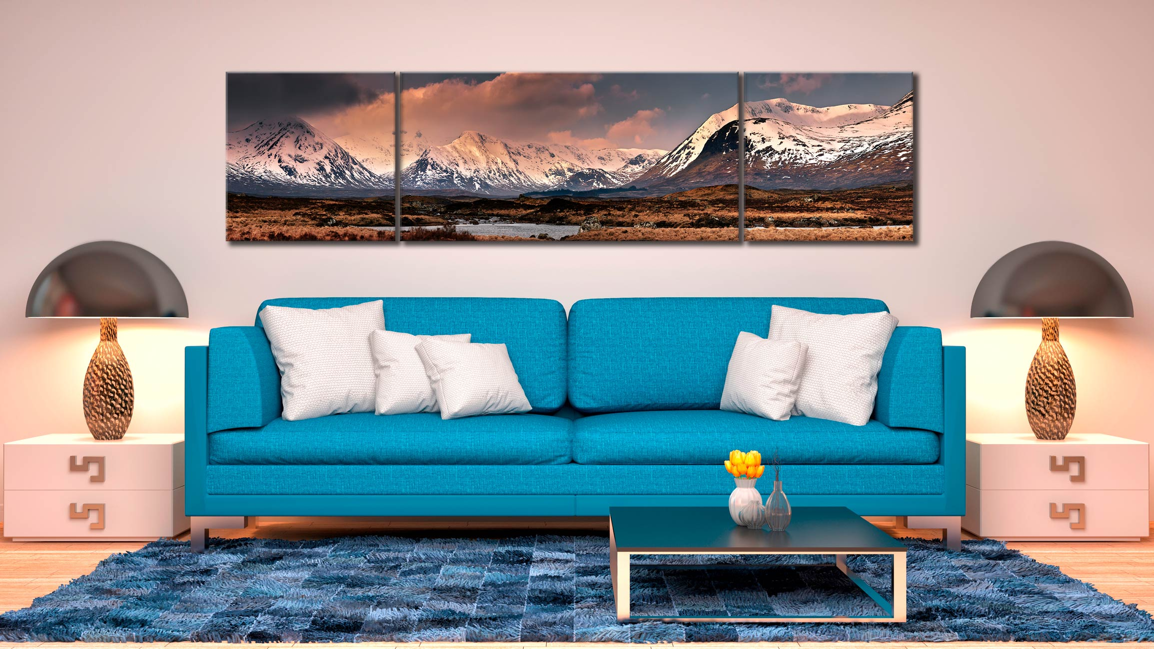 Mountains Around Rannoch Moor - 3 Panel Wide Centre Canvas on Wall