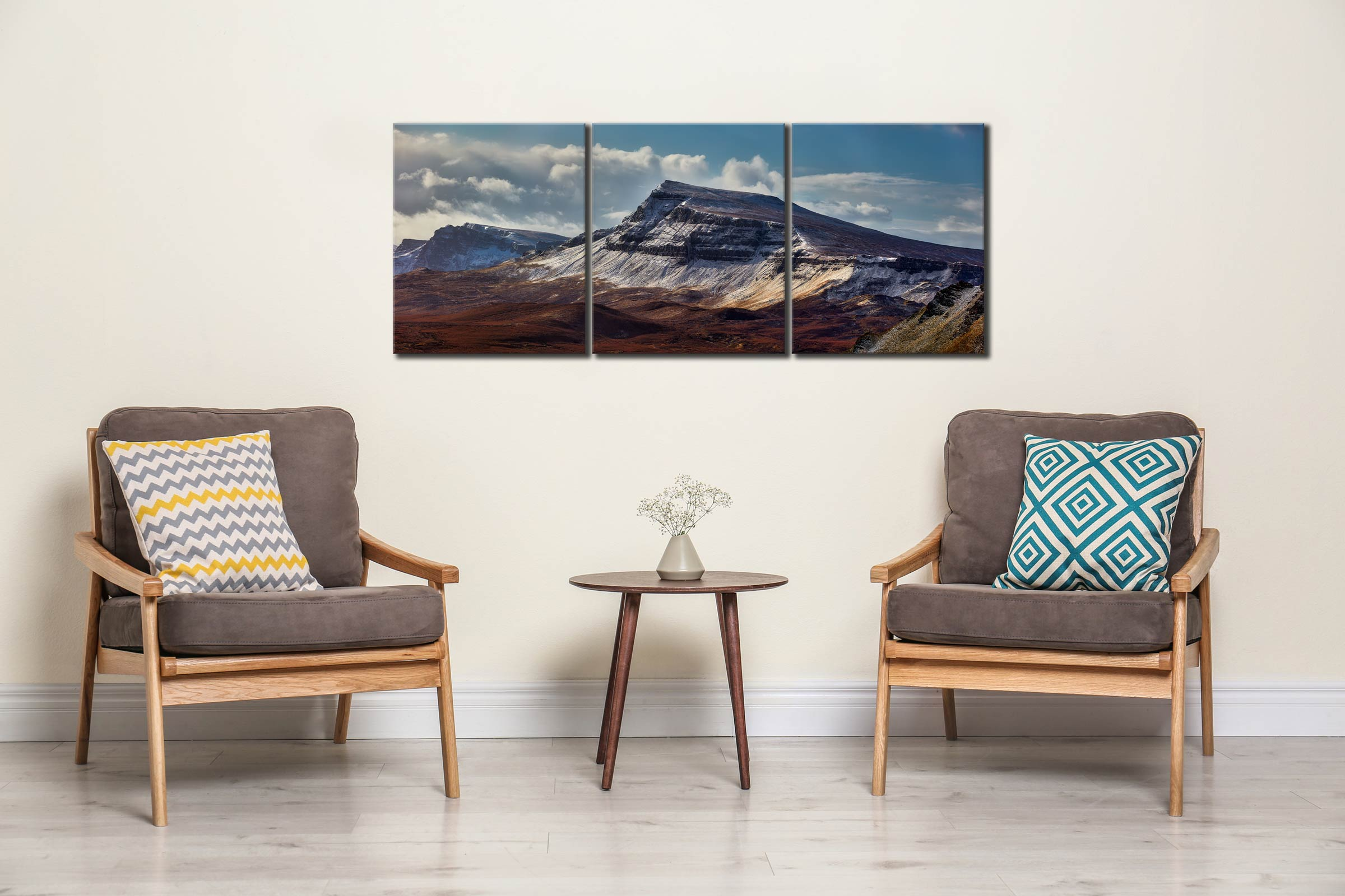Winter on the Trotternish Mountains - 3 Panel Canvas on Wall