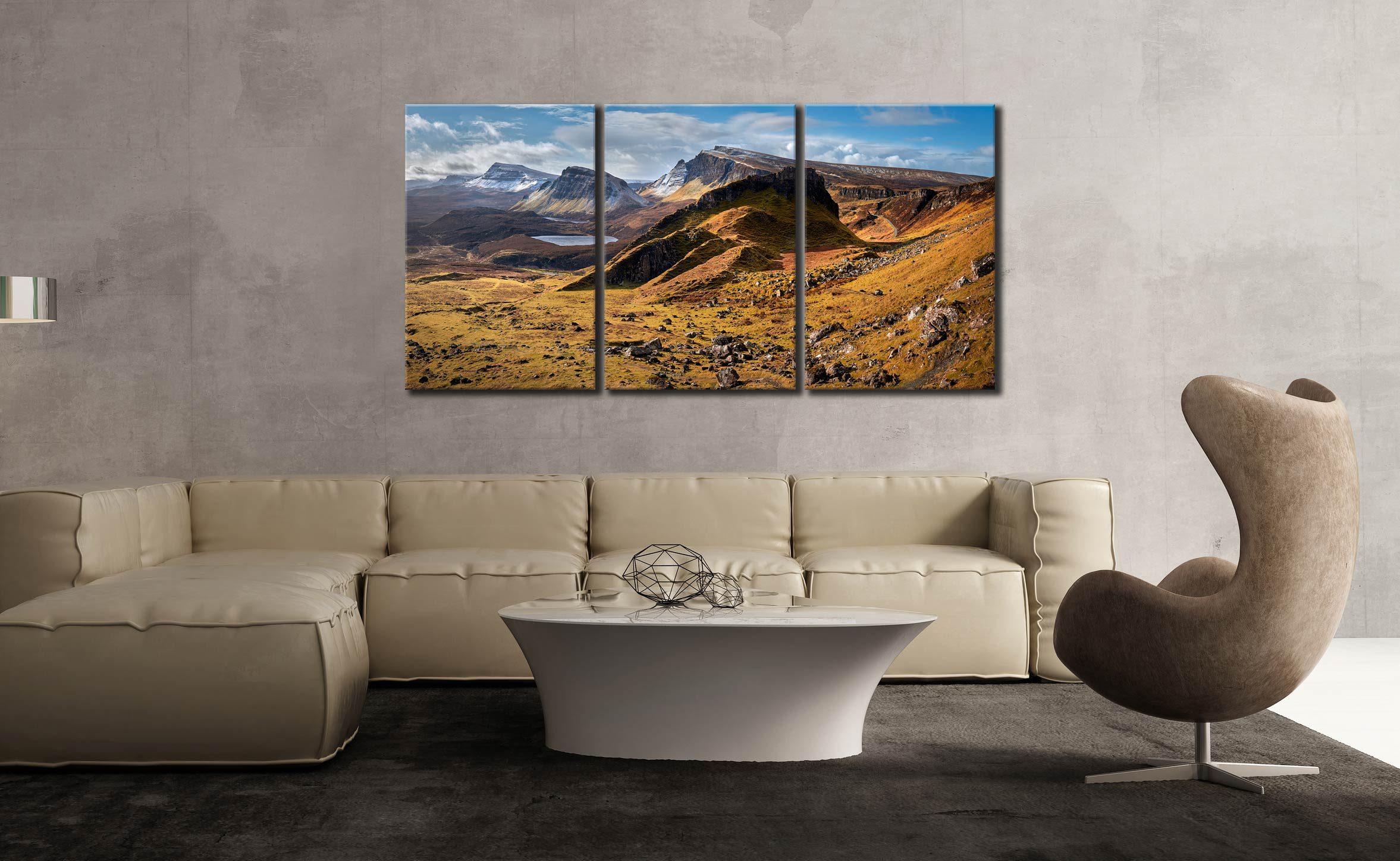 Quiraing Boulder Field - 3 Panel Canvas on Wall
