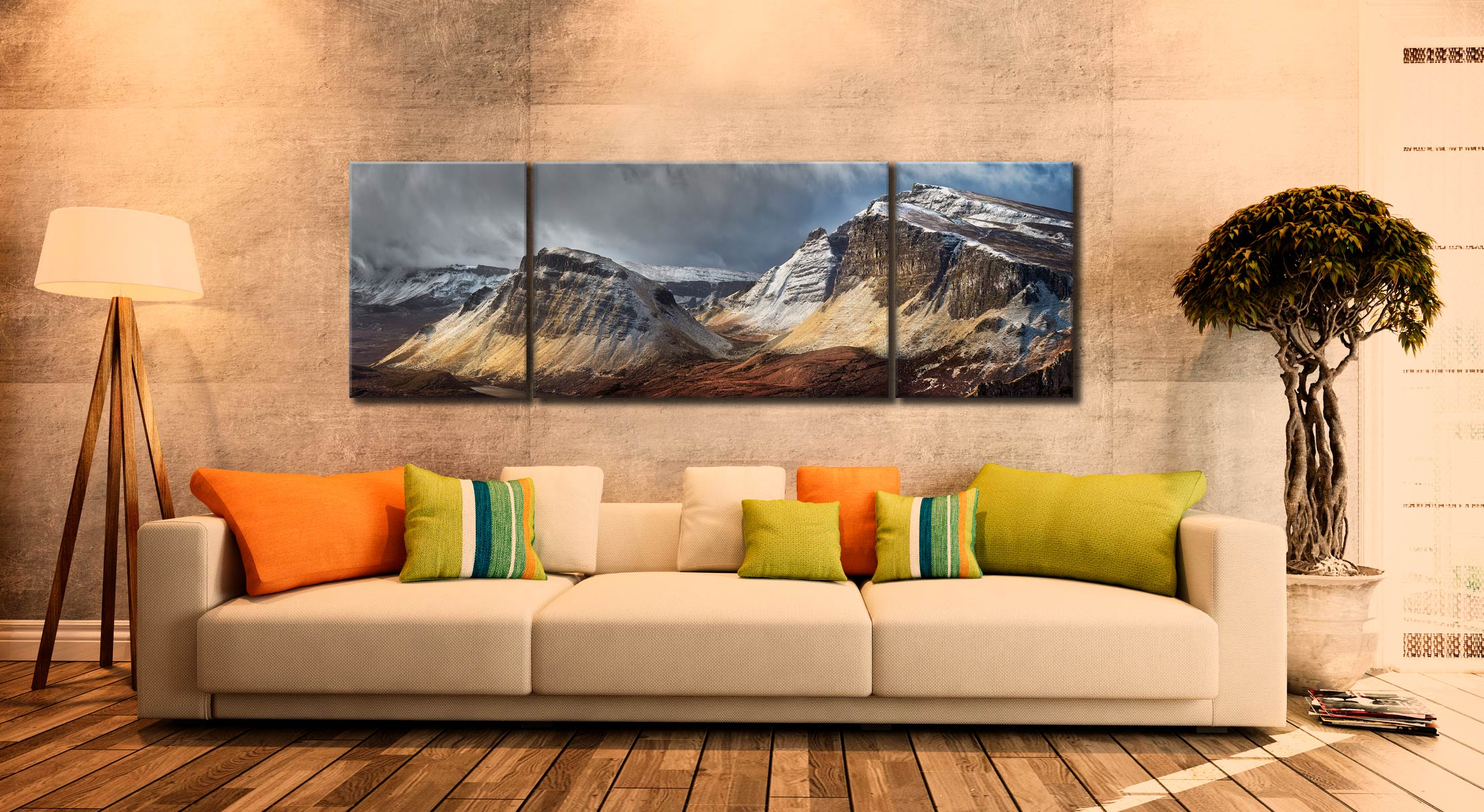 Winter Storm Quiraing - 3 Panel Wide Mid Canvas on Wall