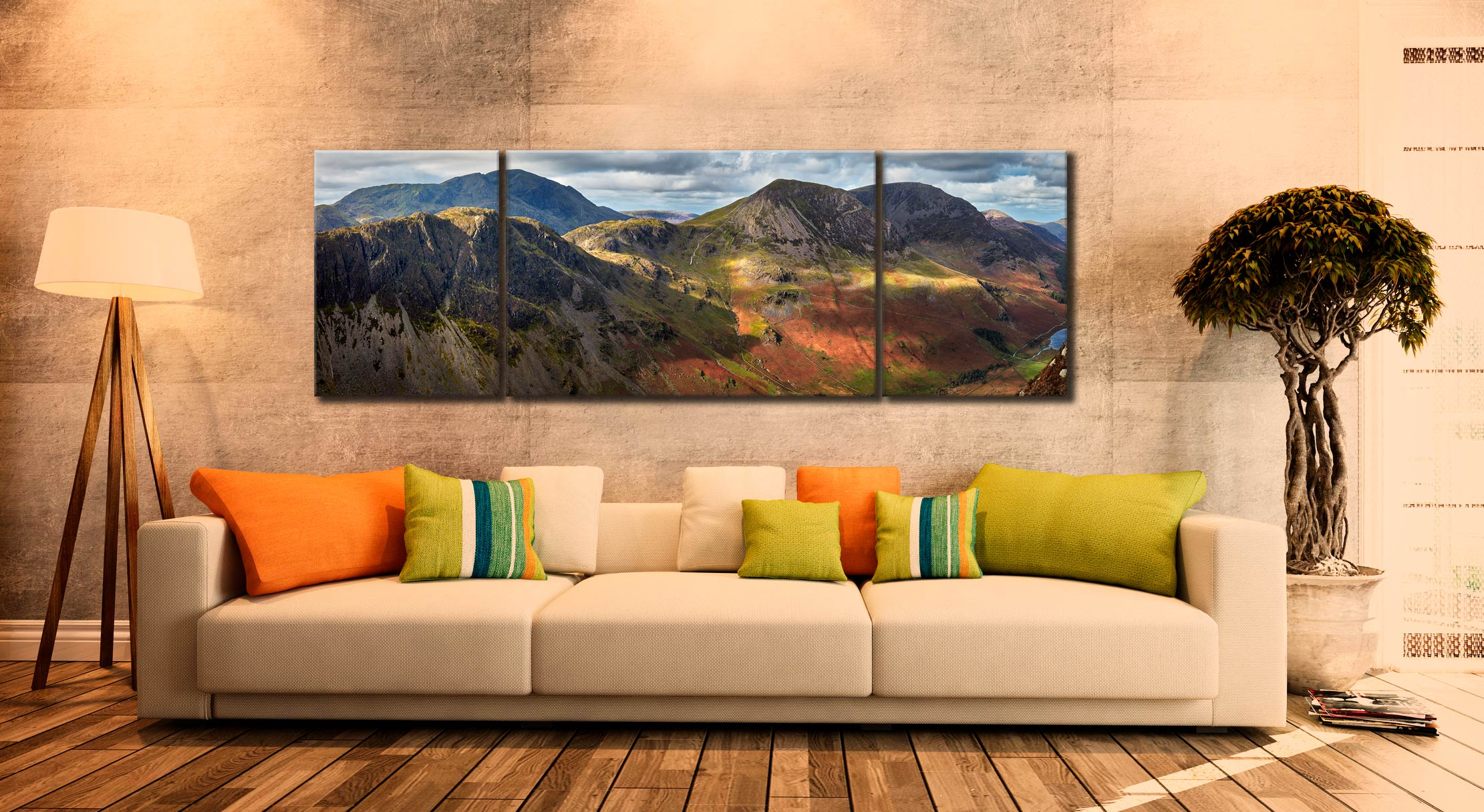 Haystacks High Crag High Stile - 3 Panel Wide Mid Canvas on Wall