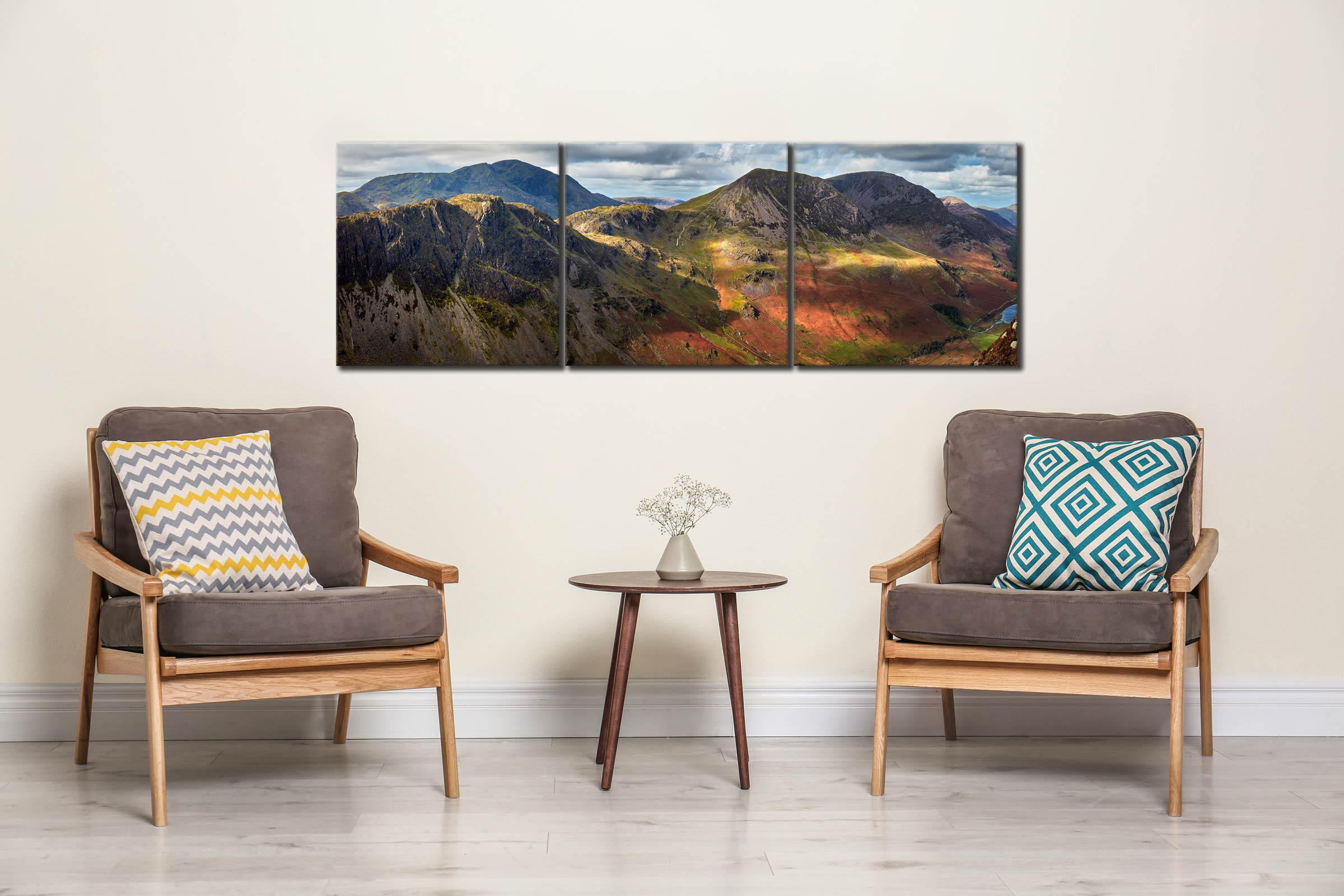 Haystacks High Crag High Stile - 3 Panel Canvas on Wall