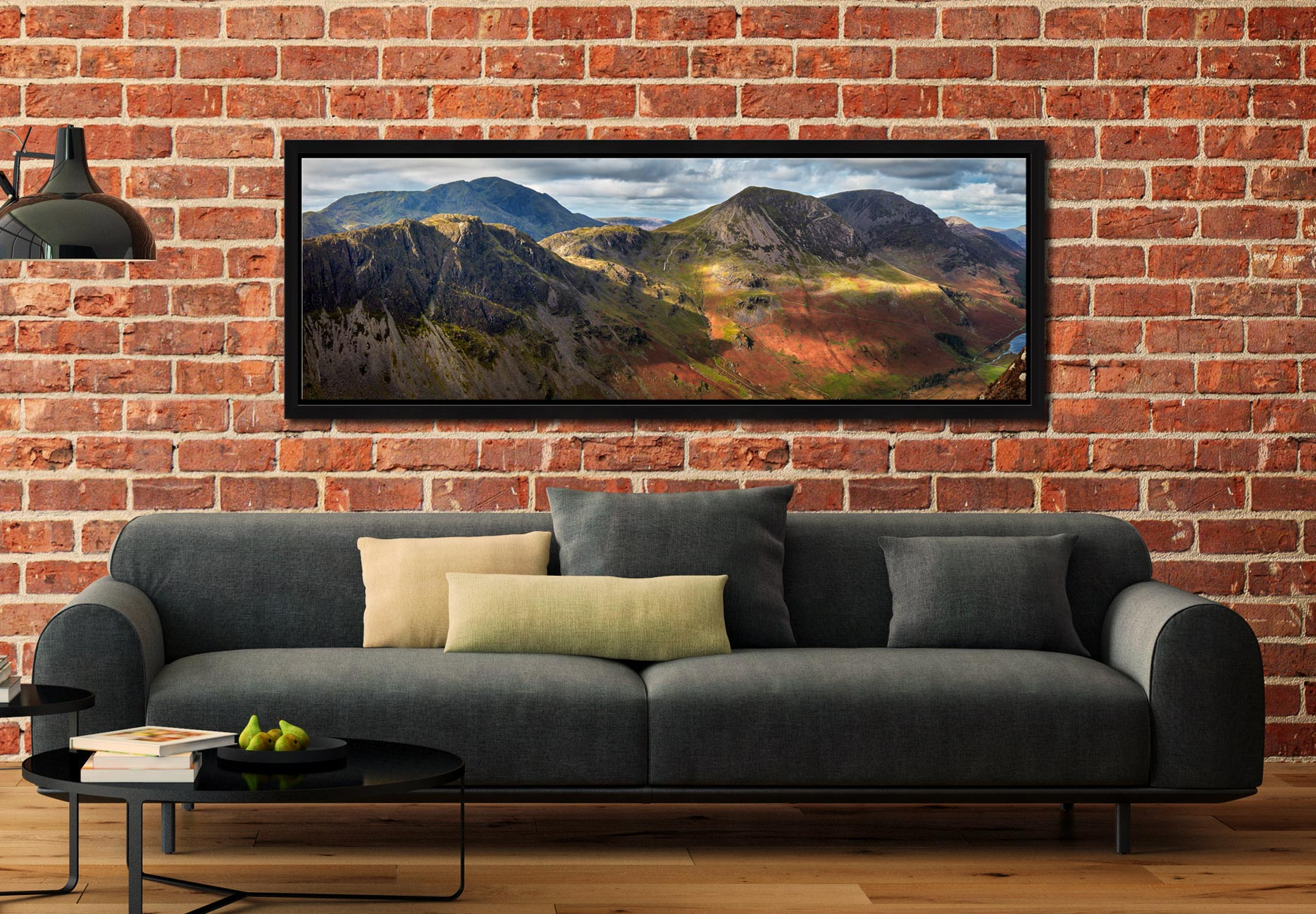 The mountains around Buttermere viewed from Fleetwith Pike - Black oak floater frame with acrylic glazing on Wall