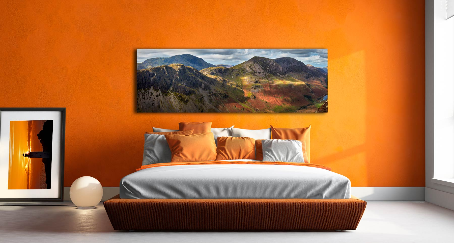 The mountains around Buttermere viewed from Fleetwith Pike - Print Aluminium Backing With Acrylic Glazing on Wall