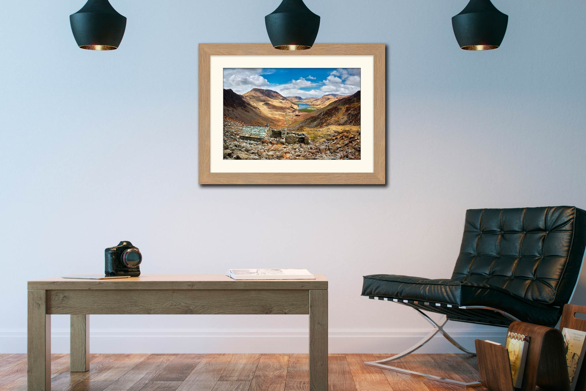 Sunshine and Shadows Over Warnscale Bothy - Framed Print with Mount on Wall